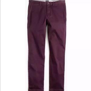 J Crew broken in urban slim fit maroon Chino pants